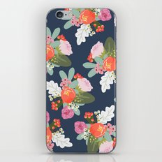 Navy Peach Foral iPhone & iPod Skin