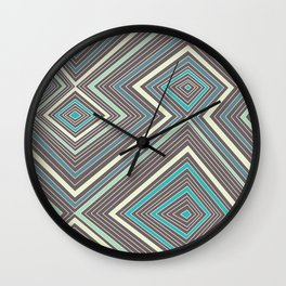 Blue, Yellow, Green and Gray Lines - Illusion Wall Clock
