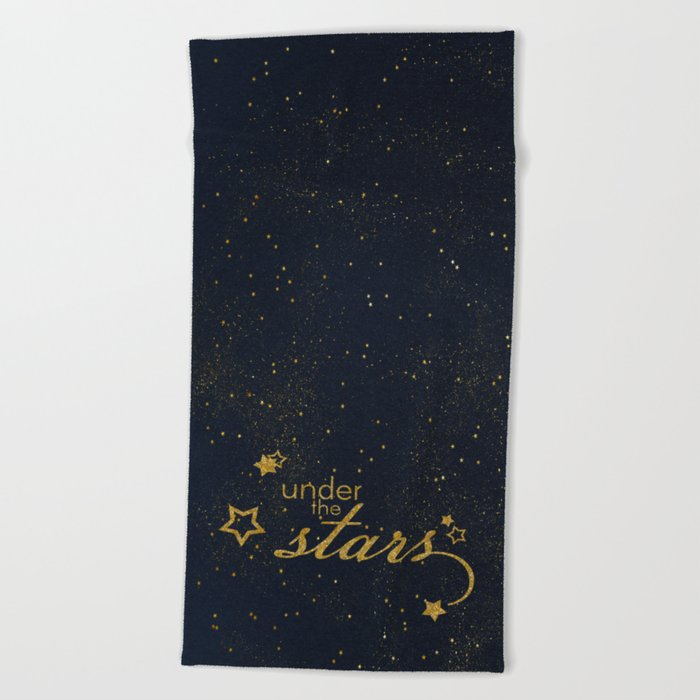 Under the stars- sparkling gold glitter night typography on #Society6 Beach Towel