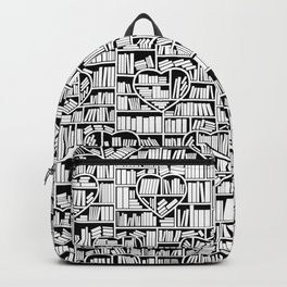 Book Lover Heart Library Pattern Backpack