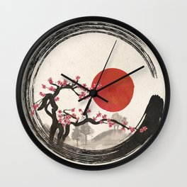 Zen Enso Circle and Sakura Tree Wall Clock