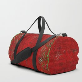 V17 Red Traditional Moroccan Carpet Texture. Duffle Bag