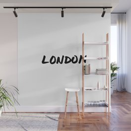 London Hand Letter Type Word Black & White Wall Mural