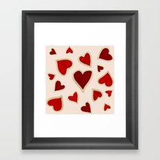 Ditsy dark hearts for lovers Framed Art Print