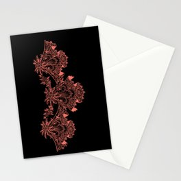 Vintage Lace Hankies Black and Peach Echo Stationery Cards
