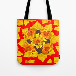 Red & Gold Leaves Sunflowers Pattern Art Tote Bag