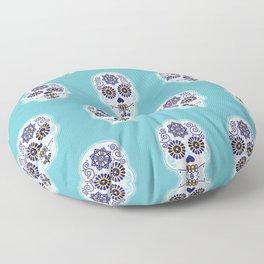 Día de Muertos • Mexican Sugar Skull – Baby Blue Palette Floor Pillow