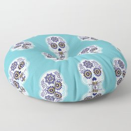 Día de Muertos • Mexican Sugar Skull – Baby Blue Palette Floor Pillow