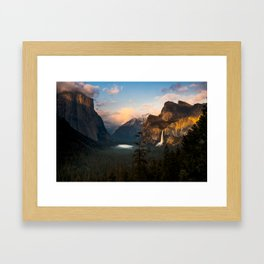 Yosemite National Park - Bridalveil Fall Tunnel View at Dusk Framed Art Print