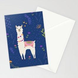 Llama on Blue Stationery Cards