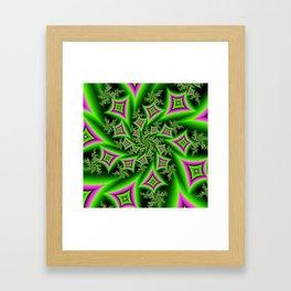 Green And Pink Shapes Fractal Framed Art Print