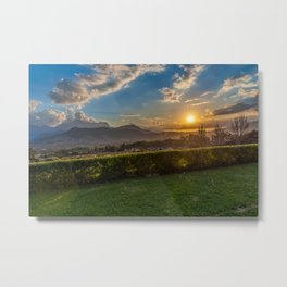 Sunset in Wine Country, Franschhoek, South Africa Metal Print