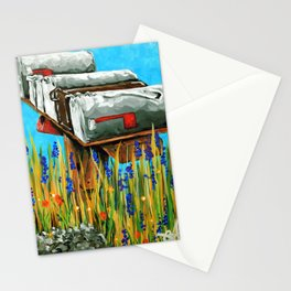 Mailboxes Mail Boxes Mailbox Country Rural Wildflowers Blue Landscape Grandma Grandpa Gift  Stationery Cards