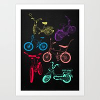 bikes Art Prints featuring Bikes by WEAREYAWN