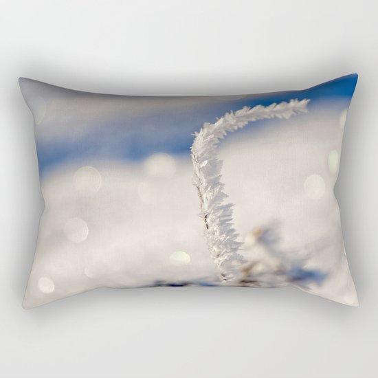 Sparkling hoar frost I Winter Snow Ice Sun Rectangular Pillow