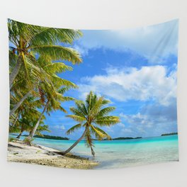 Tropical palm beach in the Pacific Wall Tapestry
