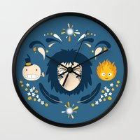 howl Wall Clocks featuring Howl by Ashley Hay