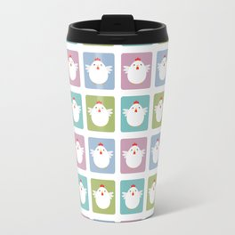White Kawaii Chicken Squared Travel Mug