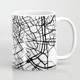 PARIS FRANCE BLACK CITY STREET MAP ART Coffee Mug