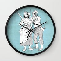 pirates Wall Clocks featuring Pirates by Tom Tierney Studios
