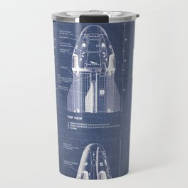 NASA SpaceX Crew Dragon Spacecraft & Falcon 9 Rocket Blueprint in High Resolution (dark blue) Travel Mug