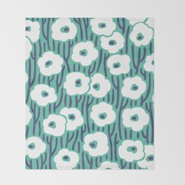 Mid Century Modern Wild Flowers 672 Turquoise and Blue Throw Blanket