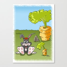 Rabbit and carrot Canvas Print