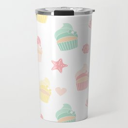 cute colorful pattern with cupcakes, starfishes, shellfishes, hearts, roses Travel Mug