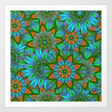 Boho Floral Pattern Art Print
