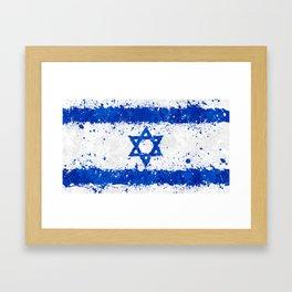 Israel Flag - Messy Action Painting Framed Art Print