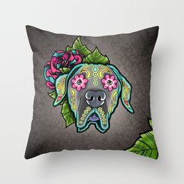 Great Dane with Floppy Ears - Day of the Dead Sugar Skull Dog Throw Pillow
