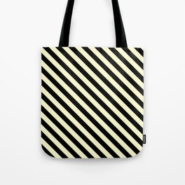 Cream Yellow and Black Diagonal LTR Stripes Tote Bag