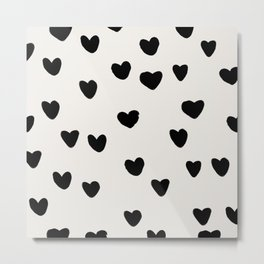 Big Hearts Brush Strokes Pattern Metal Print