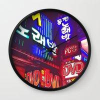korea Wall Clocks featuring Neon Korea by Josette LeBlanc