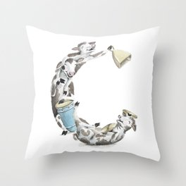 C is for Cows - ABC Laugh-A-Bit Alphabet Animal Letters by Brandie Lee BirdsFlyOver Throw Pillow