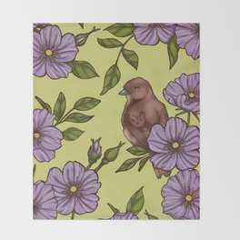Purple Wild Rose Throw Blanket