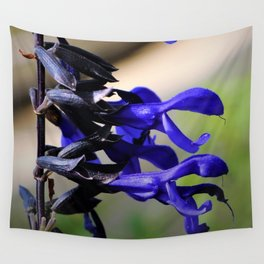 Black and Blue Salvia Wall Tapestry