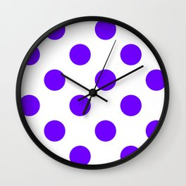 Large Polka Dots - Indigo Violet on White Wall Clock