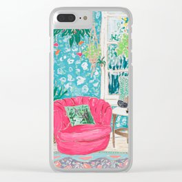 Pink Tub Chair Clear iPhone Case