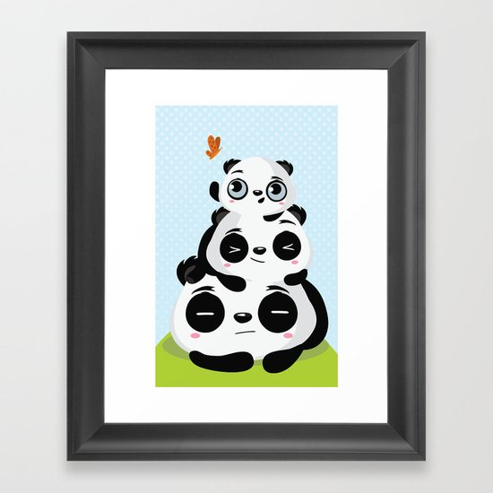 Panda family Framed Art Print