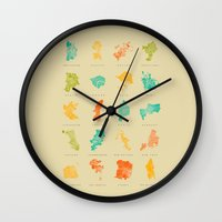 cities Wall Clocks featuring Pop Cities by Nicksman