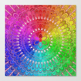 Rainbow Feather Mandala Canvas Print