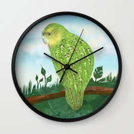 The Kakapo (Owl Parrot of New Zealand) Wall Clock