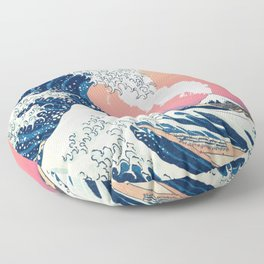 Great Wave Off Kanagawa Mount Fuji Eruption and Gradient Pink and Orange Floor Pillow