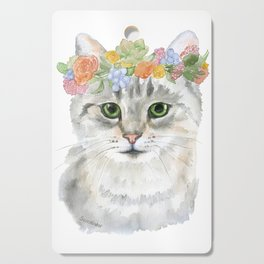 Gray Tabby Cat Floral Wreath Watercolor Cutting Board