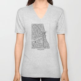 Chicago White Map Unisex V-Neck