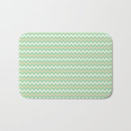 Pastel Green, Beige & Linen White Chevron Line Pattern Pairs to Noe Mint 2020 Color of the Year Bath Mat