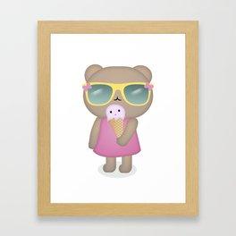 hello summer: cute bear with icecream Framed Art Print