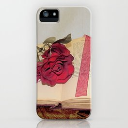Red Rose on Open Book Library Art A224 iPhone Case
