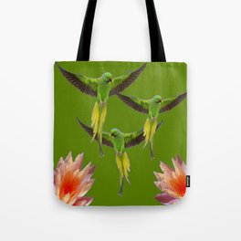 GREEN FLYING FAIRY BIRDS  & PEACH FLOWERS ART decor, furnishings, or for t Tote Bag